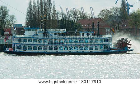 Hamburg, Germany - April 02, 2017: Louisiana Star rear wheel steamer Passenger ship in the port of Hamburg, April 02, 2017 in Hamburg