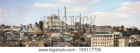 Panoramic view of Istanbul with the Blue Mosque at the center