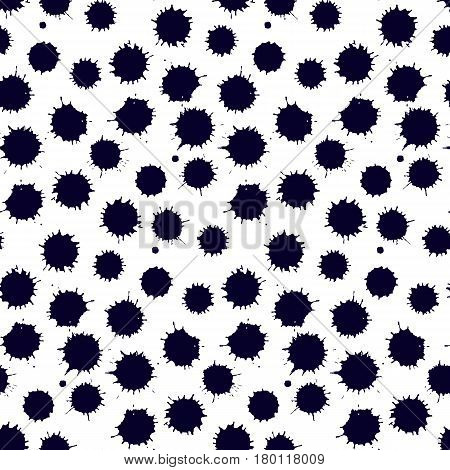 Monochrome spot blob blot seamless pattern vector