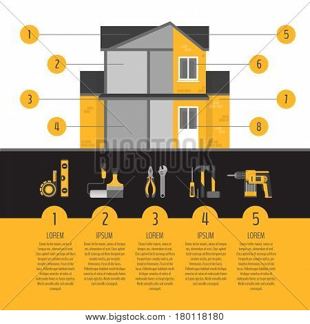 House Repair Infographics. Hand Tools For Home Renovation And Improvement. Flat Style, Vector Illust