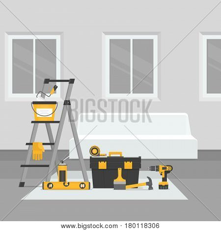 Renovation Room. Home Interior Renovation. Flat Style, Vector Illustration.