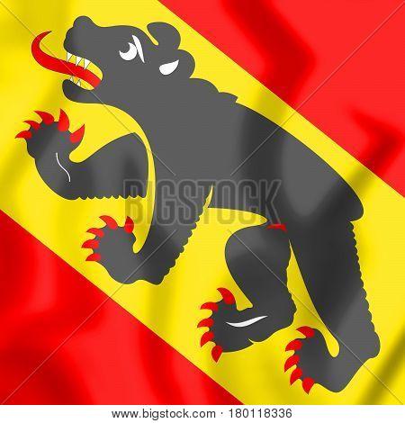 3D Flag Of Bern Canton, Switzerland.