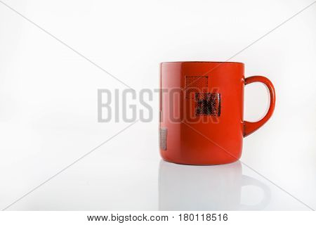 Chineese wooden red cup on white background