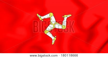 3D Flag Of Isle Of Man.