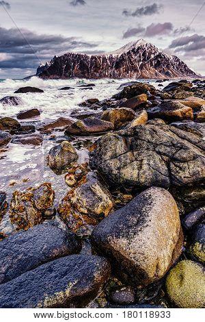 Rocky Seashore. Magnificent Winter Mountain Landscape On The Sea