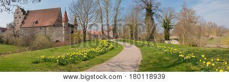 Idyllic Medieval Old Town Of Dinkelsbühl At Springtime