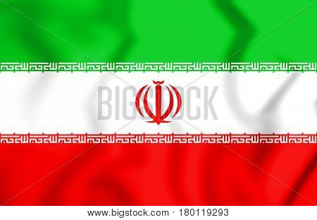 3D Flag Of The Iran.