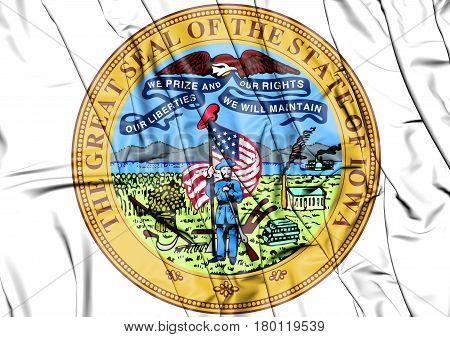 3D Iowa State Seal, Usa. 3D Illustration.