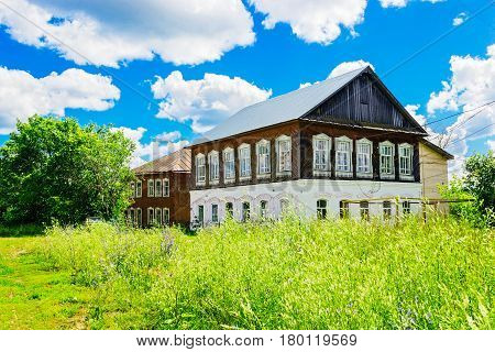 Big old russian village houses on a summer day