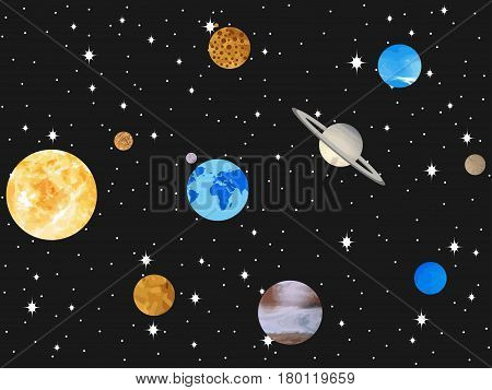 Planets Of The Solar System. Outer Space, Open Space. Vector Illustration