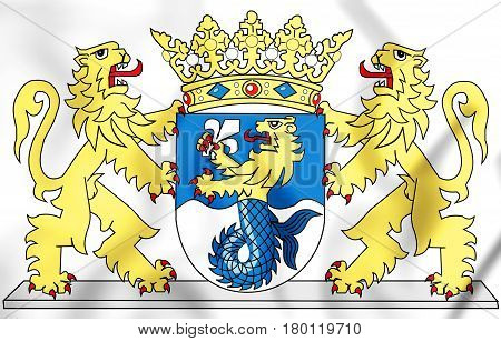 Coat Of Arms Of The Flevoland Province, Netherlands. 3D Illustration.