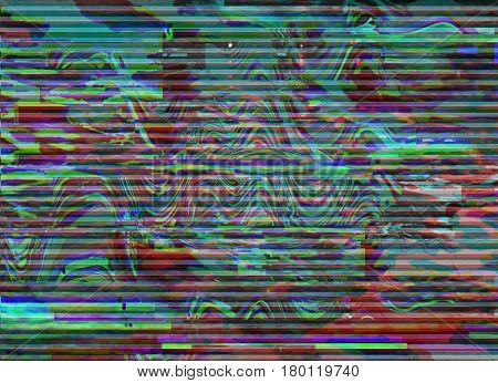 Glitch background. Computer screen error. Digital pixel noise abstract design. Photo glitch. Television signal fail. Data decay. Technical problem grunge wallpaper. Colorful noise wallpaper