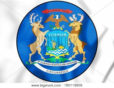 State Seal Of The Michigan State, Usa. 3D Illustration.