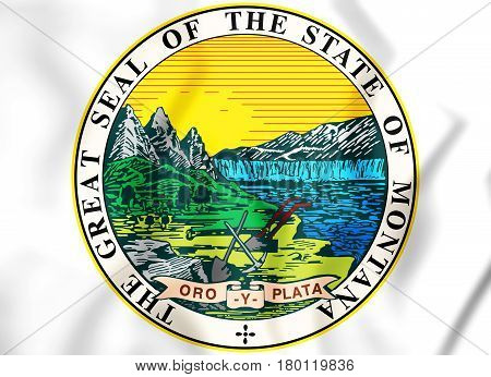State Seal Of The Montana State, Usa. 3D Illustration.