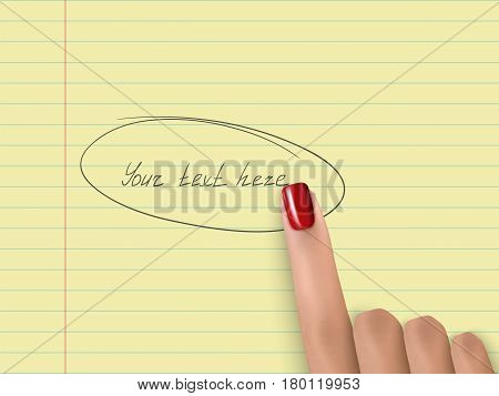 Finger Pointing Yellow Notebook Paper Forefinger Pick Red Nail