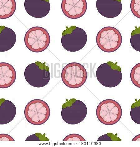 Mangosteen background. Seamless pattern with mangosteen. Flat style. Vector illustration.