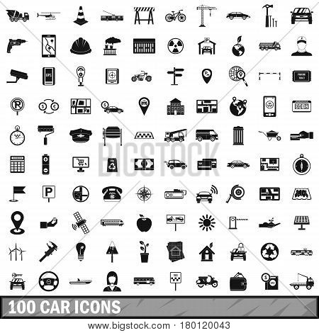 100 car icons set in simple style for any design vector illustration