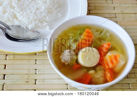 boiled Chinese cabbage and egg tofu soup eat with rice low fat meal