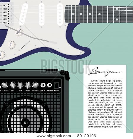 Blue electric guitar with strings and speaker on green background.