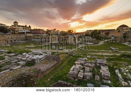 Remains of Hadrian's Library in the old town of Athens, Greece.
