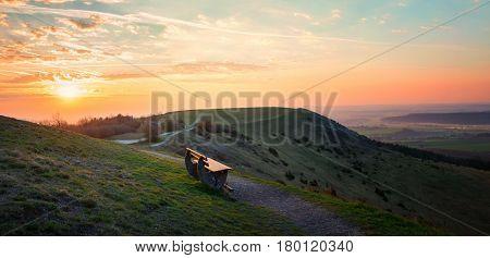 Sunset Scenery At Hesselberg
