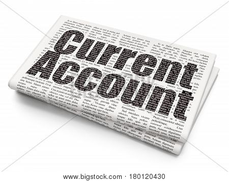 Money concept: Pixelated black text Current Account on Newspaper background, 3D rendering