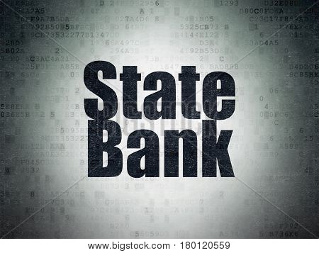 Banking concept: Painted black word State Bank on Digital Data Paper background