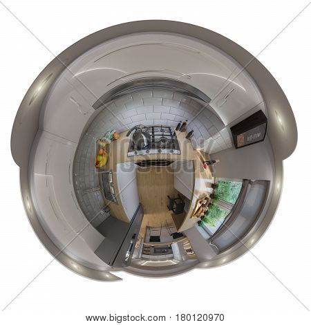3d illustration spherical 360 degrees, seamless panorama of kitchen interior design. Modern studio apartment in the Scandinavian minimalist style