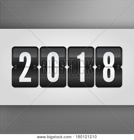2018 Happy New Year Scoreboard. Grey black and white vector flip symbol on dotted background. Infographic sign