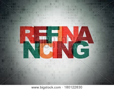 Finance concept: Painted multicolor text Refinancing on Digital Data Paper background