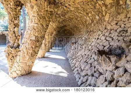 The Laundry Room Portico - Park Guell Barcelona Catalonia Spain Europe