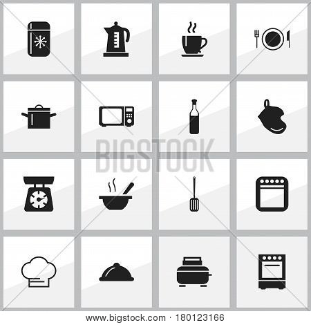 Set Of 16 Editable Cooking Icons. Includes Symbols Such As Pan, Toaster, Food Libra And More. Can Be Used For Web, Mobile, UI And Infographic Design.