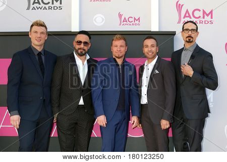 LAS VEGAS - APR 2:  Backstreet Boys at the Academy of Country Music Awards 2017 at T-Mobile Arena on April 2, 2017 in Las Vegas, NV