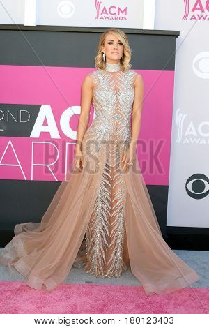 LAS VEGAS - APR 2:  Carrie Underwood_ at the Academy of Country Music Awards 2017 at T-Mobile Arena on April 2, 2017 in Las Vegas, NV