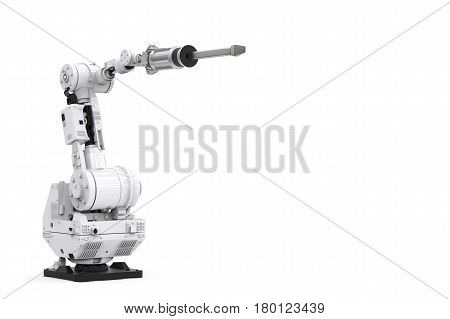 White Robotic Arm With Blank Space