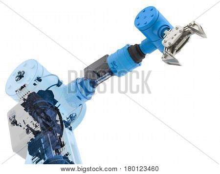 3d rendering blue wireframe robotic arm on white background