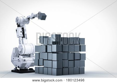 3d rendering robotic arm build cubic on white background
