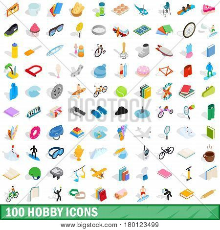 100 hobby icons set in isometric 3d style for any design vector illustration
