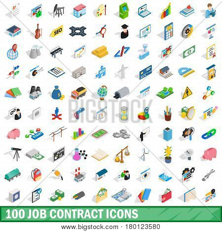 100 job contract icons set in isometric 3d style for any design vector illustration