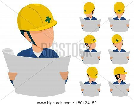 set of engineer is reading drawing icon on transparent background