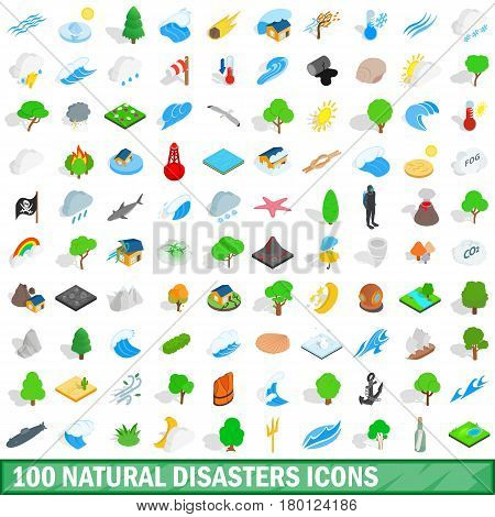 100 natural disasters icons set in isometric 3d style for any design vector illustration