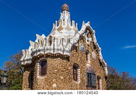 Mushroom Shaped Gate House - Park Guell Barcelona Catalonia Spain Europe