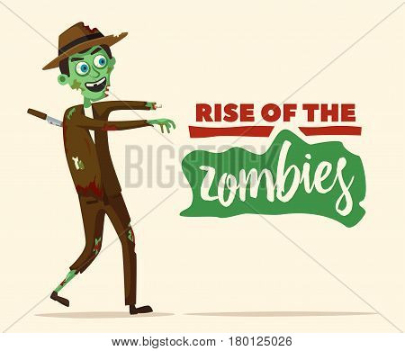Good and bad zombie character. Cartoon vector illustration. Halloween party. Ugly monster. Green evil dead man. Stylized person. Banner and poster