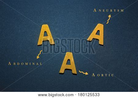 Abdominal Aortic Aneurysm written with yellow wooden letters to understand a medical concept
