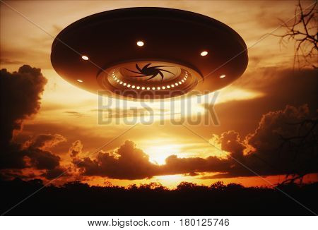 3D illustration with photography. Alien spaceship under the sunset.