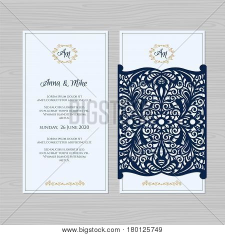Wedding Invitation Or Greeting Card With Vintage Ornament. Paper Lace Envelope Template. Wedding Inv