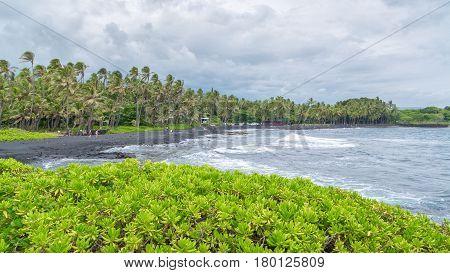 Amazing Punalu'u black sand beach, Big Island, Hawaii