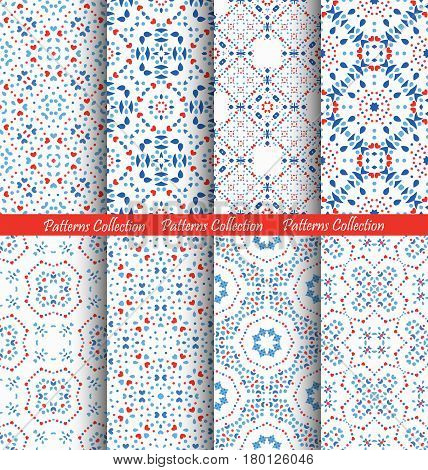 Blue Flower Patterns. Seamless Boho Backgrounds. Square and round design elements. Vector illustration for wallpaper print, linen fabric. Ethnic textile graphic. Floral capsule collection.
