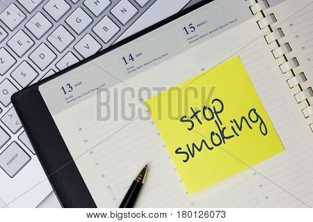 Paper Note With The Words - Stop Smoking - In Business Desk. Health Concept