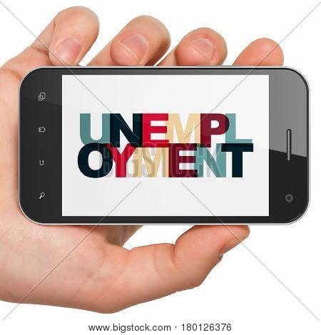 Business concept: Hand Holding Smartphone with Painted multicolor text Unemployment on display, 3D rendering